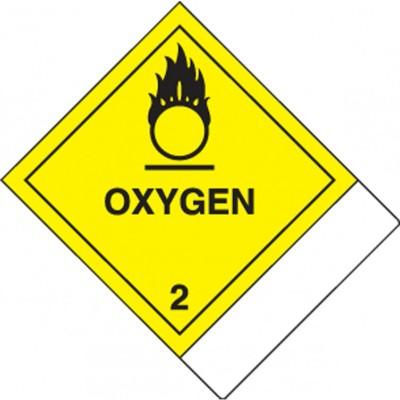 Hazard Class 2 - Oxygen DOT Label w/ID Tab