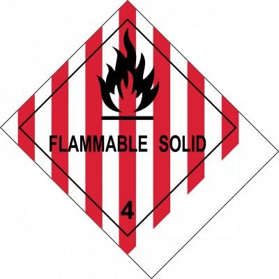 Hazard Class 4 - Flammable Solid DOT Label w/ID Tab
