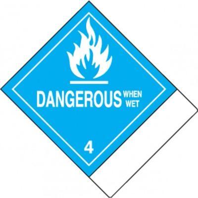 Hazard Class 4 - Dangerous When Wet DOT Label w/ID Tab