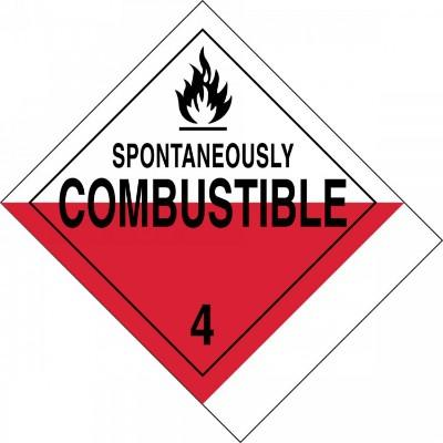 Hazard Class 4 - Spontaneously Combustible DOT Label w/ID Tab