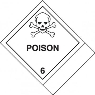 Hazard Class 6 - Poison DOT Label w/ID Tab