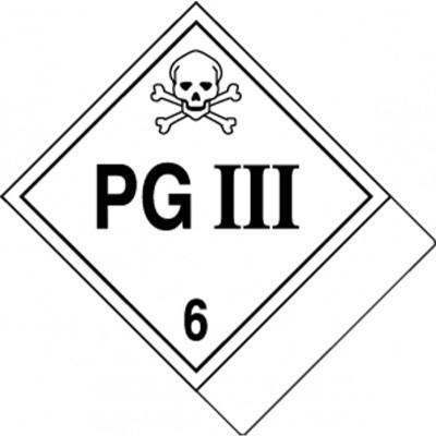 Hazard Class 6 - PG III DOT Label w/ID Tab