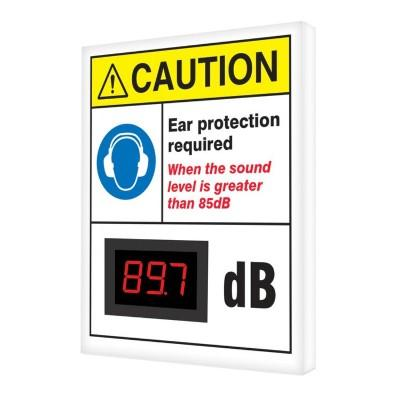 Caution - Ear Protection Required Greater Than 85dB ANSI Decibel Meter Sign