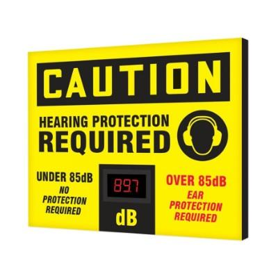 Caution - Hearing Protection Required Under/Over 85dB OSHA Decibel Meter Sign