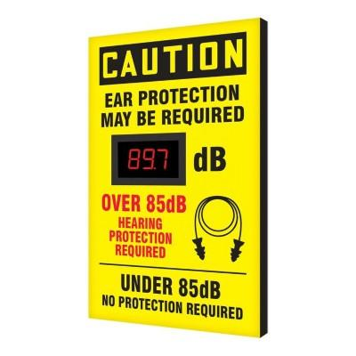 Caution - Ear Protection May Be Required Under/Over 85dB OSHA Decibel Meter Sign
