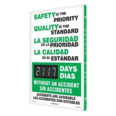 Safety is the Priority _ Days Without an Accident (Bilingual) Safety Scoreboard