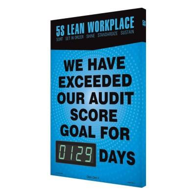 5S Lean Workplace - Exceeded Our Audit For _ Days Safety Scoreboard