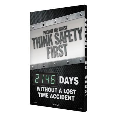 Think Safety First _ Days Without a Lost Time Accident Safety Scoreboard