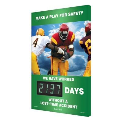 Make a Play for Safety _ Days Without a Lost Time Accident Safety Scoreboard