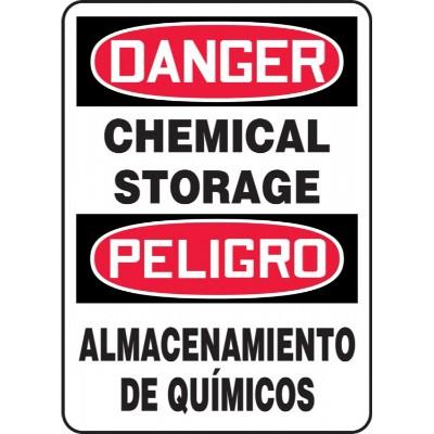 Danger/Peligro - Chemical Storage (Bilingual) OSHA HazMat Sign