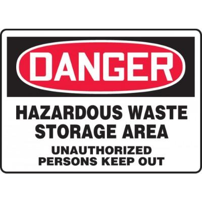 Danger - Hazardous Waste Storage Area OSHA HazMat Sign