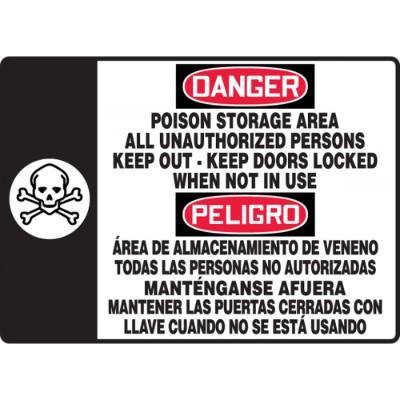 Danger/Peligro - Poison Storage Area (Bilingual Graphic) OSHA HazMat Sign