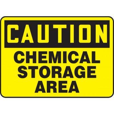 Caution - Chemical Storage Area OSHA HazMat Sign