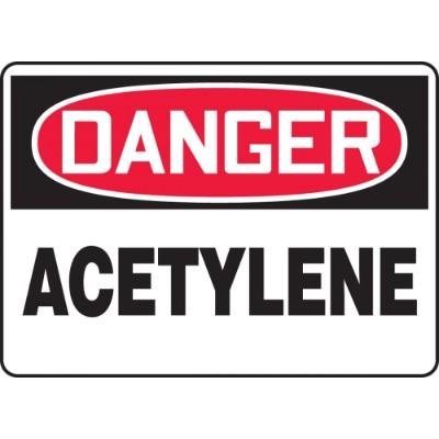 Danger - Acetylene OSHA Chemical Sign