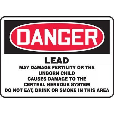 Danger - Lead May Damage Fertility OSHA HazMat Sign