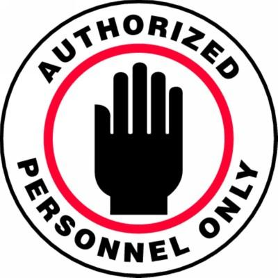 Authorized Personnel Only (Hand) - Adhesive Floor Sign