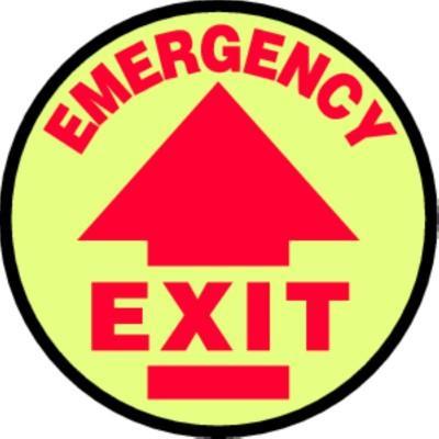 Emergency Exit - Glow Adhesive Floor Sign