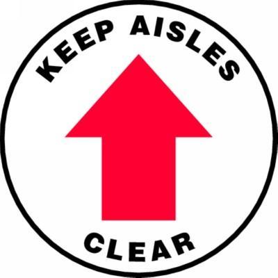 Keep Aisles Clear - Adhesive Floor Sign