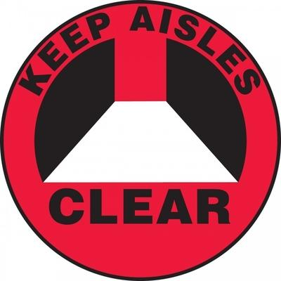 Keep Aisles Clear (Red) - Adhesive Floor Sign