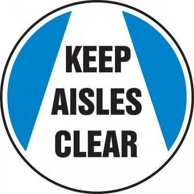 Keep Aisles Clear (Blue) - Adhesive Floor Sign