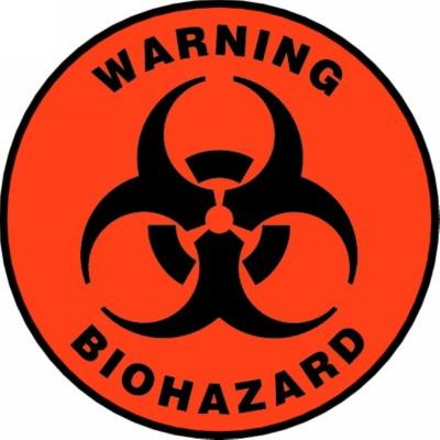 Warning, Biohazard - Adhesive Floor Sign