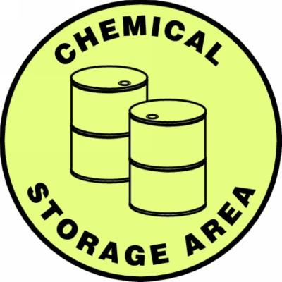 Chemical Storage Area - Glow Adhesive Floor Sign