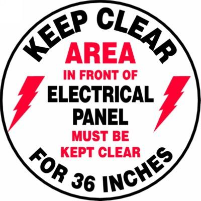 Area in Front of Electrical Panel Must Be Kept Clear - Adhesive Floor Sign