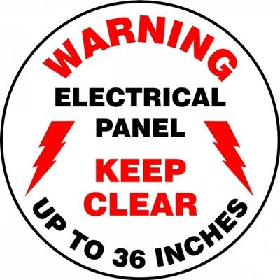 Warning - Electrical Panel, Keep Clear - Adhesive Floor Sign