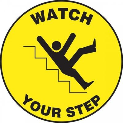 Watch Your Step (Falling) - Adhesive Floor Sign