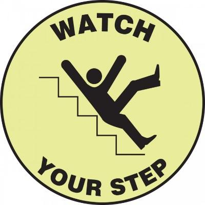 Watch Your Step (Falling) - Glow Adhesive Floor Sign