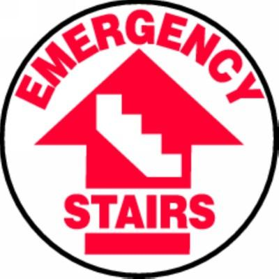 Emergency Stairs - Adhesive Floor Sign