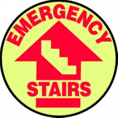 Emergency Stairs - Glow Adhesive Floor Sign