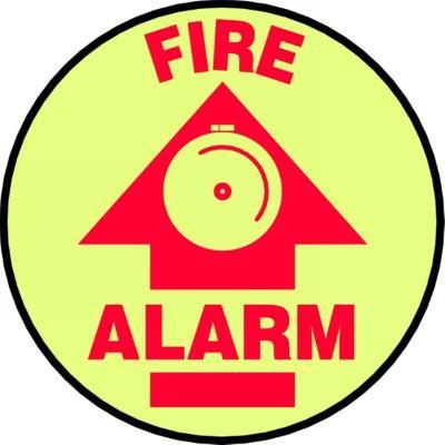 Fire Alarm - Glow Adhesive Floor Sign
