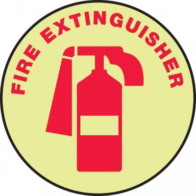 Fire Extinguisher (Red) - Glow Adhesive Floor Sign