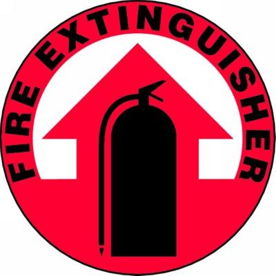 Fire Extinguisher (Black Text) - Adhesive Floor Sign