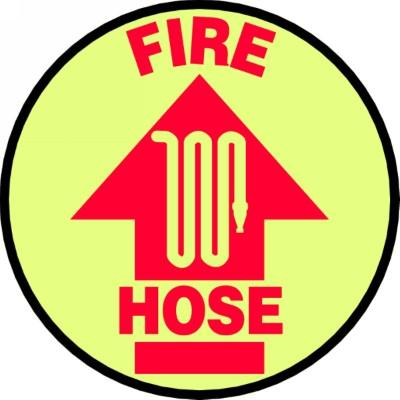 Fire Hose - Glow Adhesive Floor Sign