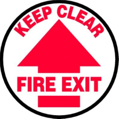Keep Clear Fire Exit - Adhesive Floor Sign