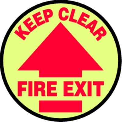 Keep Clear Fire Exit - Glow Adhesive Floor Sign