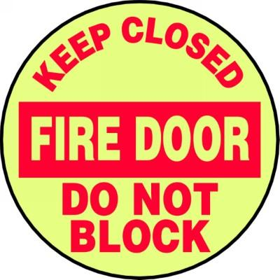 Keep Closed Fire Door - Glow Adhesive Floor Sign