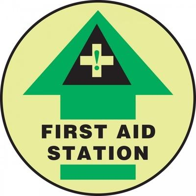 First Aid Station - Glow Adhesive Floor Sign