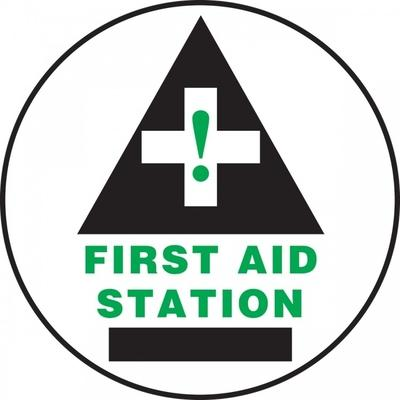 First Aid Station (Black) - Adhesive Floor Sign