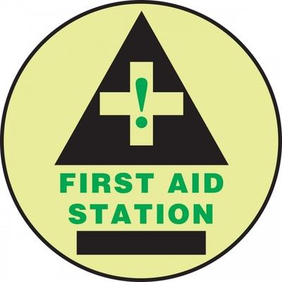 First Aid Station (Black) - Glow Adhesive Floor Sign