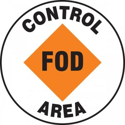 Control FOD Area - Adhesive Floor Sign
