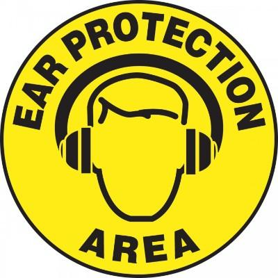 Ear Protection Area - Adhesive Floor Sign