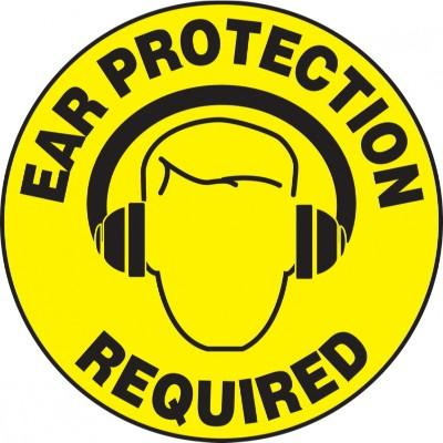 Ear Protection Required - Adhesive Floor Sign