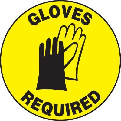 Gloves Required - Adhesive Floor Sign