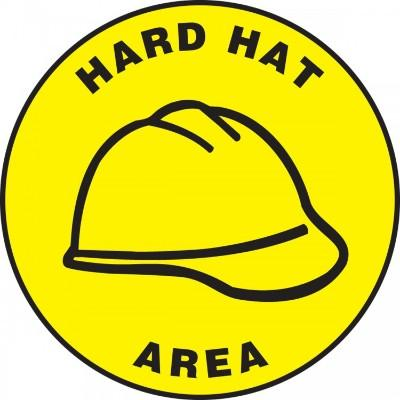 Hard Hat Area - Adhesive Floor Sign