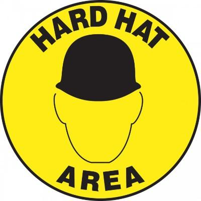 Hard Hat Area (Black Helmet) - Adhesive Floor Sign