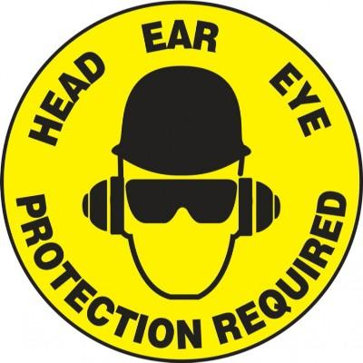 Head, Ear, Eye Protection Required - Adhesive Floor Sign