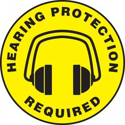Hearing Protection Required - Adhesive Floor Sign
